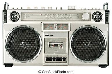 vendimia, aislado, radio, cassette, registrador, blanco