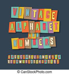 vendimia, alfabeto, y, números, collage, papel, arte, diseño