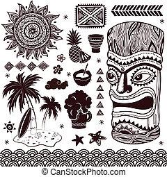 vendimia, aloha, ilustración, tiki