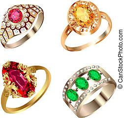 vendimia, anillo, conjunto, con, piedras preciosas