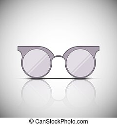 vendimia, anteojos, con, reflexión, vector, ilustración, design.
