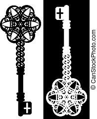 vendimia, antigüedad, llave, tapiz