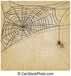 vendimia, araña, plano de fondo, tela
