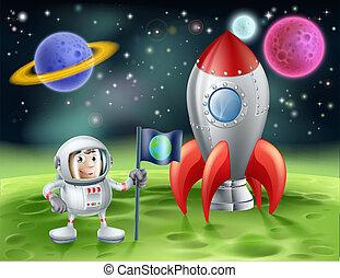 vendimia, astronauta, caricatura, cohete