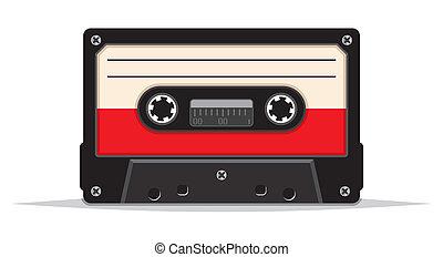 vendimia, audio, cinta, encima de cierre