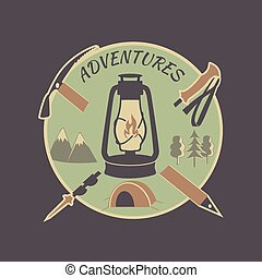 vendimia, aventura, coloreado, etiqueta
