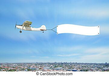 vendimia, avión, mosca, y, exposición, publicidad, tabla, en, cielo, de, town.
