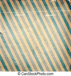 vendimia, azul, diagonal, rayado, papel, plano de fondo