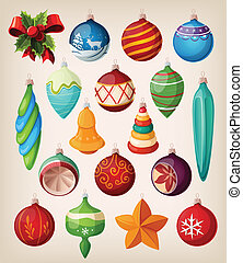 vendimia, balls., conjunto, navidad