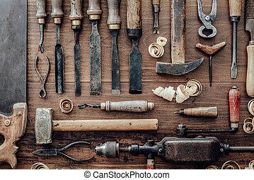 vendimia, banco de trabajo, carpintería, herramientas