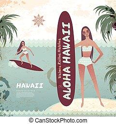 vendimia, bandera, de, isla hawaiana, con, un, oleaje, niña