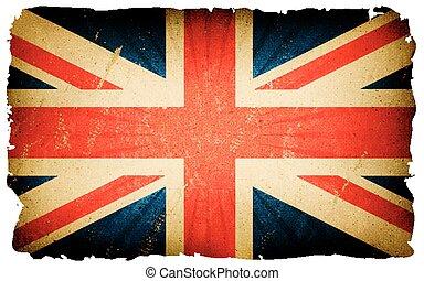 vendimia, bandera, inglés, plano de fondo, cartel