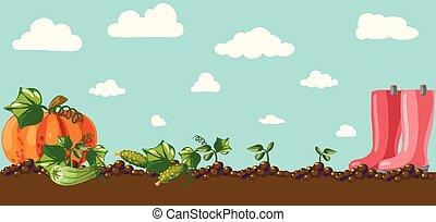 vendimia, bandera, jardín, raíz, veggies