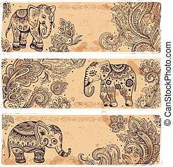 vendimia, banderas, conjunto, étnico, elefantes
