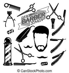 vendimia, barbería, elementos, colección