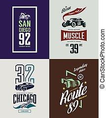 vendimia, barra caliente, coche clásico, y, motocicleta, aislado, vector, camiseta, logotipo, set.