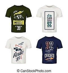 vendimia, barra caliente, coche clásico, y, motocicleta, vector, camiseta, logotipo, simulado, arriba, set.