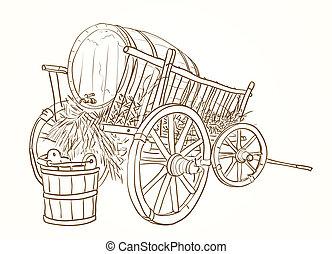 vendimia, barril, carrito, vino
