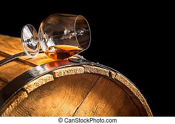 vendimia, barril, coñac, vidrio