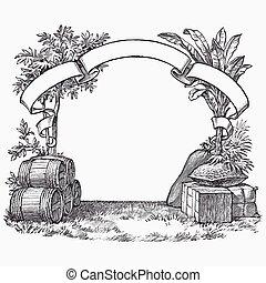 vendimia, barril, grabado, efímero, vector, ilustración