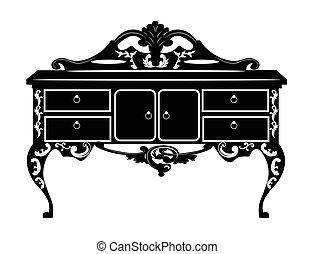 vendimia, barroco, rico, cómoda