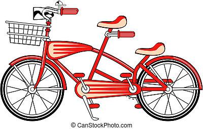 vendimia, bicicleta, bicicleta construida para dos