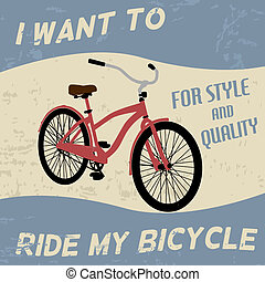vendimia, bicicleta, cartel
