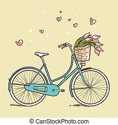 vendimia, bicicleta, con, flores