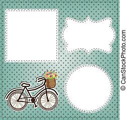 vendimia, bicicleta, con, flores, en, cesta, disposición, con, vendimia, encaje