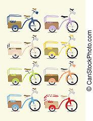 vendimia, bicicleta, conjunto