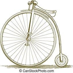 vendimia, bicicleta, dibujo, woodcut