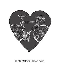 vendimia, bicicleta, heart.