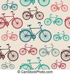vendimia, bicicleta, pattern., seamless, elementos