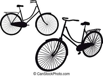 vendimia, bicicleta, vector