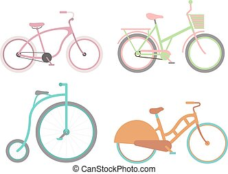 vendimia, bicicleta, vector, illustration.