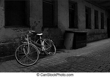 vendimia, bicicletas, encima, viejo, pared