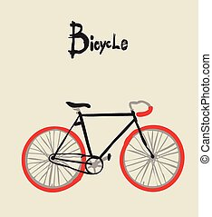 vendimia, bicycle., vector, illustration.