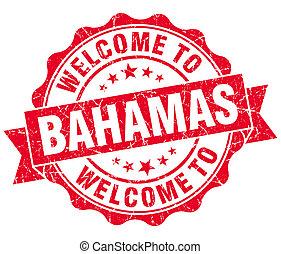 vendimia, bienvenida, aislado, bahamas, sello, grungy, rojo