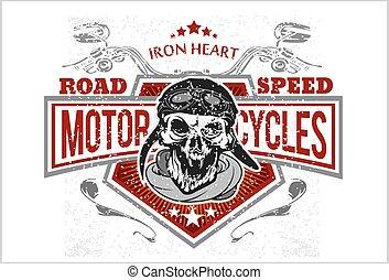 vendimia, biker, cráneo, camiseta, impresiones, emblems.