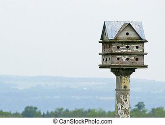 vendimia, birdhouse, aire libre