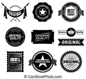 vendimia, bitmap, labels., colección, 8