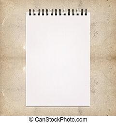 vendimia, blanco, cuaderno, pintura, plano de fondo
