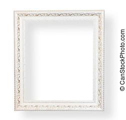 vendimia, blanco, marco, con, decorative.