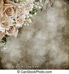 vendimia, boda, romántico, plano de fondo, rosas