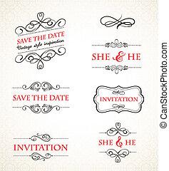vendimia, boda, vector, conjunto, invitaciones