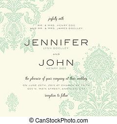 vendimia, boda, vector, plantilla, invitación