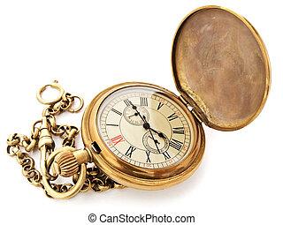 vendimia, bolsillo, reloj