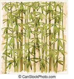 vendimia, bosque de bambú, ilustración