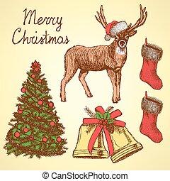 vendimia, bosquejo, conjunto, estilo, navidad