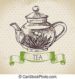 vendimia, bosquejo, illustration., té, mano, fondo., diseño...